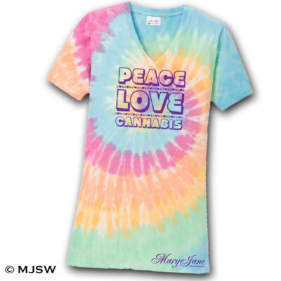 tie dye cannabis t-shirt weed 420